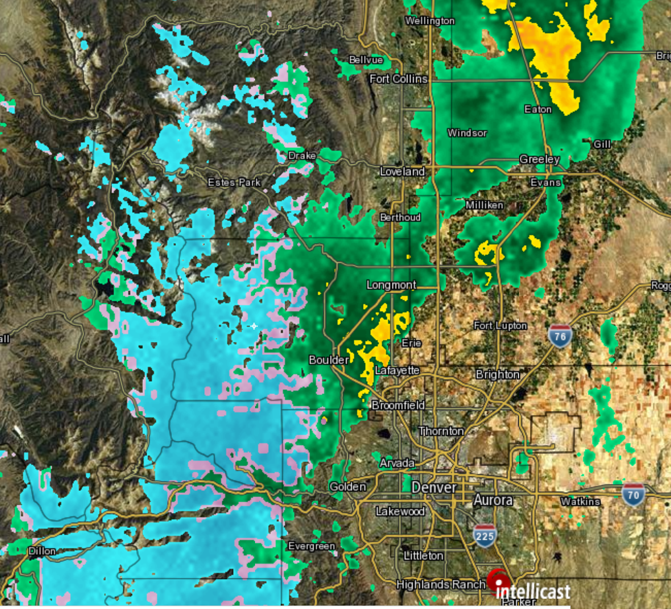 Current radar for the region as of 11am Sunday. With a band of moderate rain and mountain snow in Boulder County