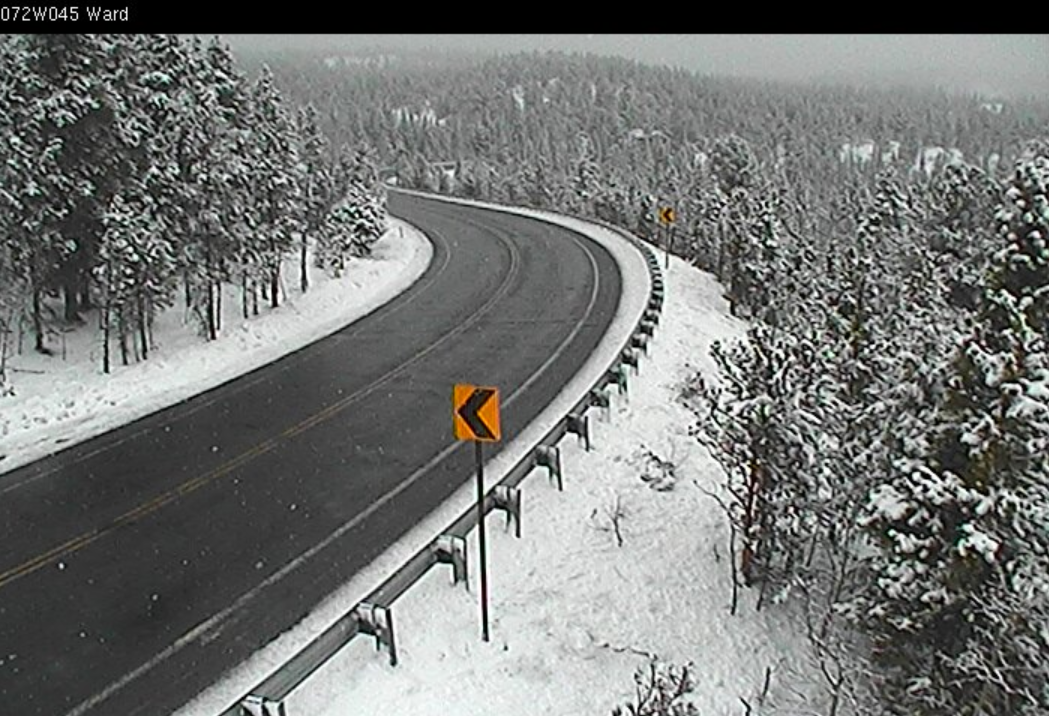 Current view of Peak to Peak Highway, near Ward, at 11am Sunday.