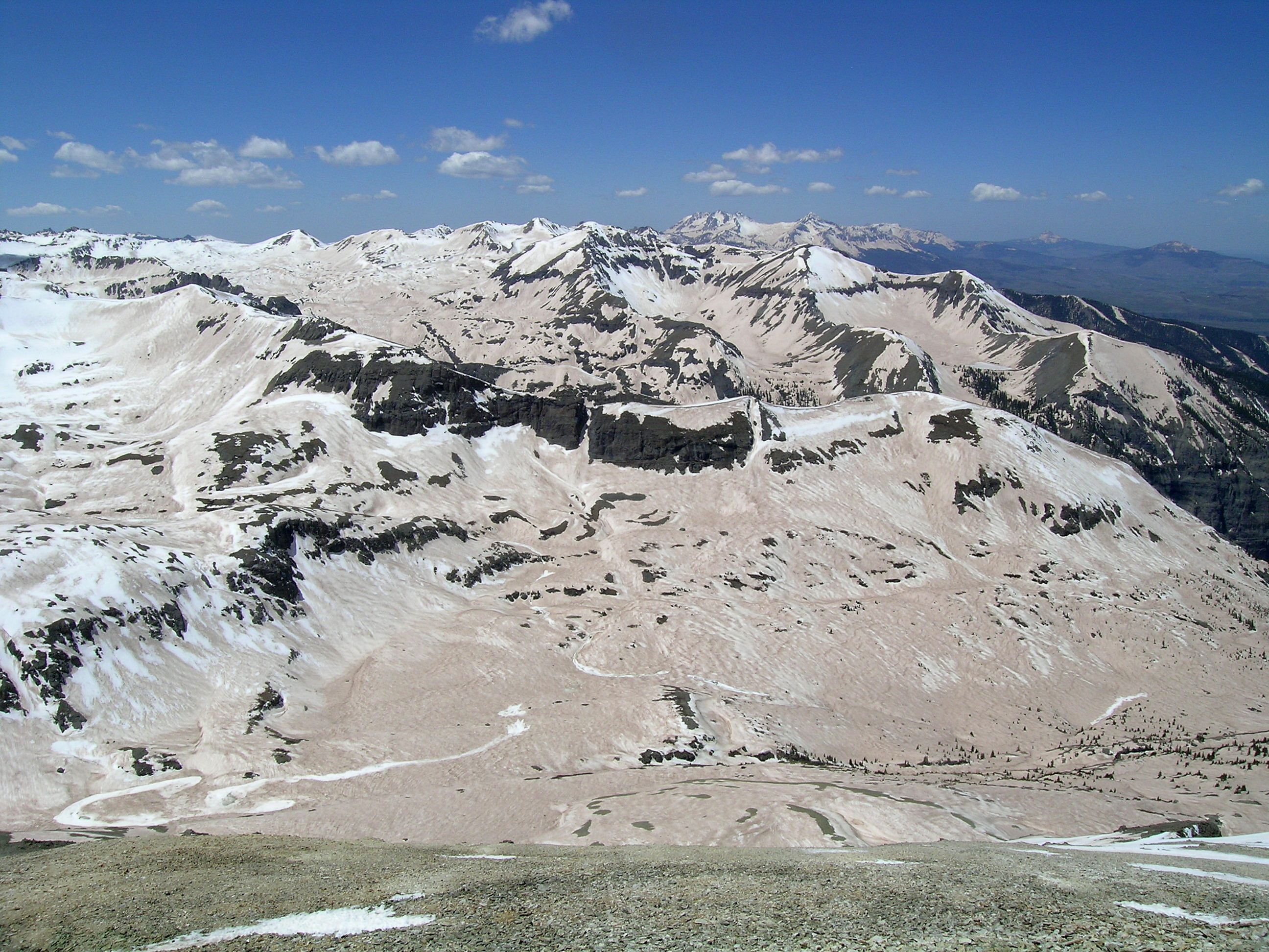 Dust on snow after a dust storm in the San Juan Mountains
