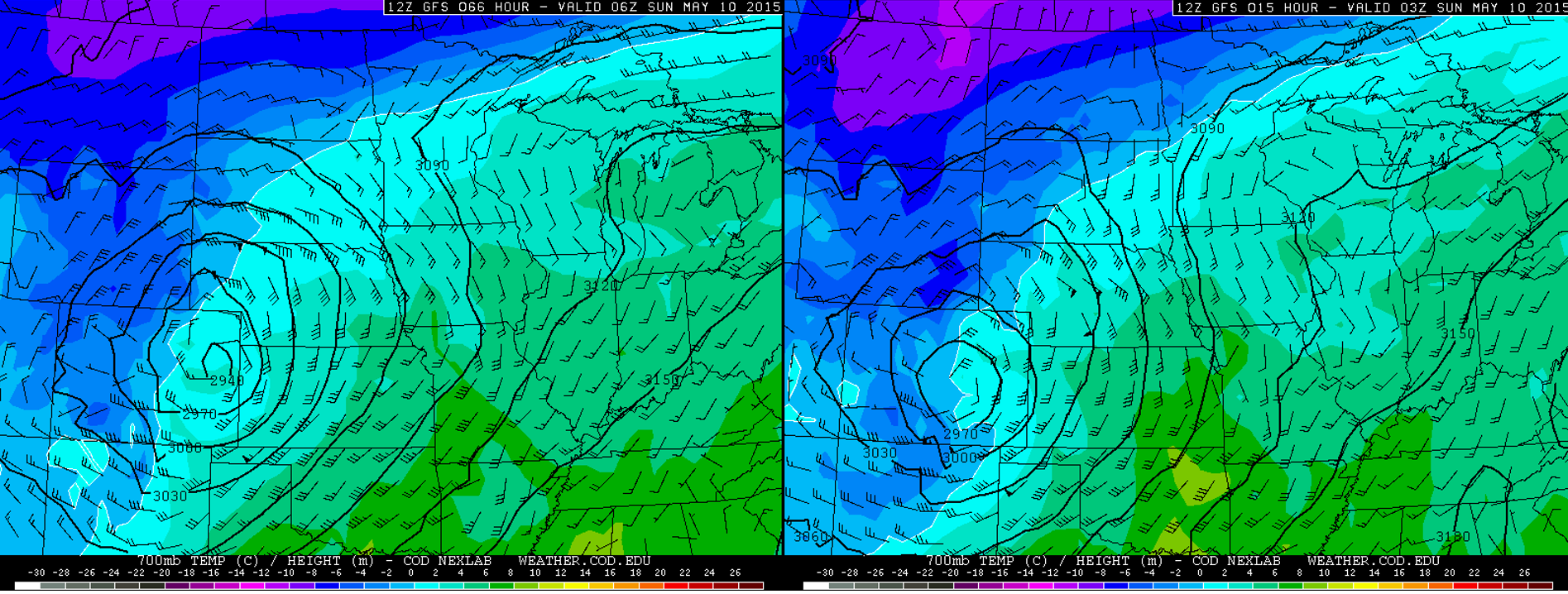 The GFS 700mb forecasts for winds, heights, and temperature, valid at 9pm Saturday. The image on the left is Thursday morning's run, while the image on the right is Saturday mornings. Very similar overall, but the subtle difference in storm location (further south on right) and temperature (slightly cooler for Boulder on right) will have big implications.