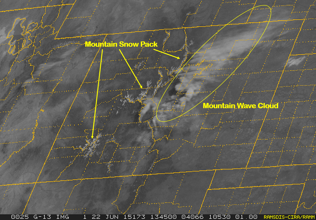 Colorado visible satellite image on Monday morning., depicting a wave cloud immediately downwind of the mountains over much of the state. You can even see the abundant, though rapidly declining, snowpack quite well.