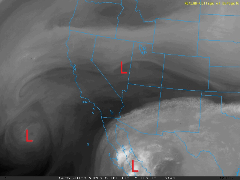 Three upper level low pressure systems to impact Colorado this week, shown on this water vapor image as of Monday