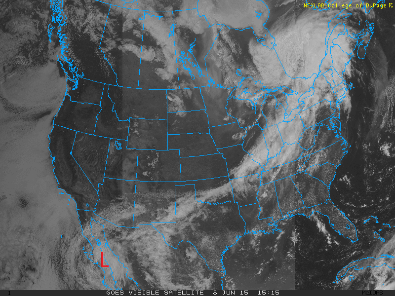 Visible satellite image of the United States for Monday morning