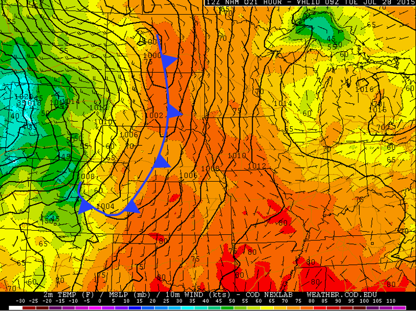 NAM 700mb map for Tuesday, valid at 3am. The cold front has already pushed through NE Colorado