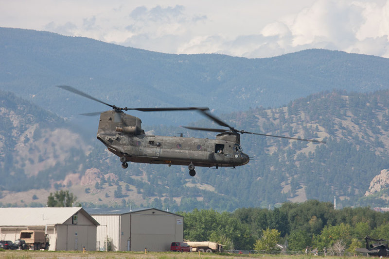 Chinook helicopter during rescue missions for trapped flood victims | Boulder Airport