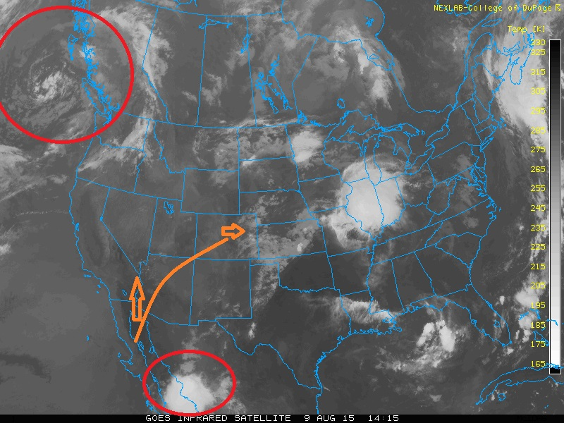 Infrared satellite image Sunday afternoon, August 9th.
