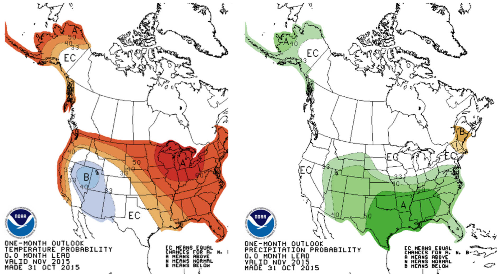 CPC Temperature and Precipitation Outlook for November 2015.