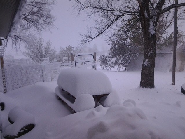 "18"" of snow fell in Elizabeth, a small town located on the Palmer Divide at 6,500 feet."