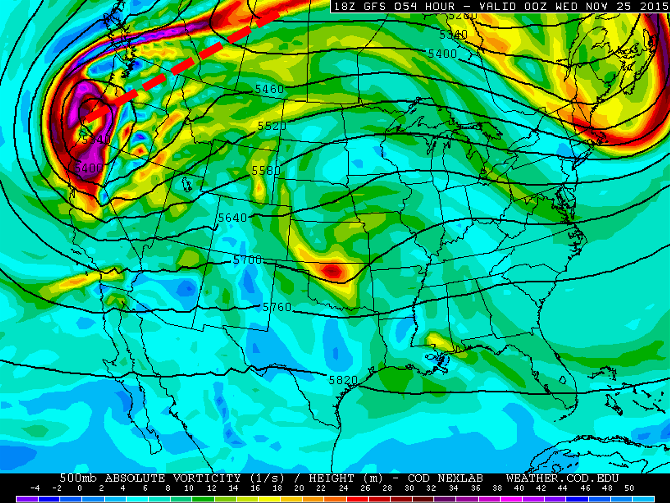 GFS 500mb vorticity map, valid Tuesday afternoon. Notice the positive tilt of the trough