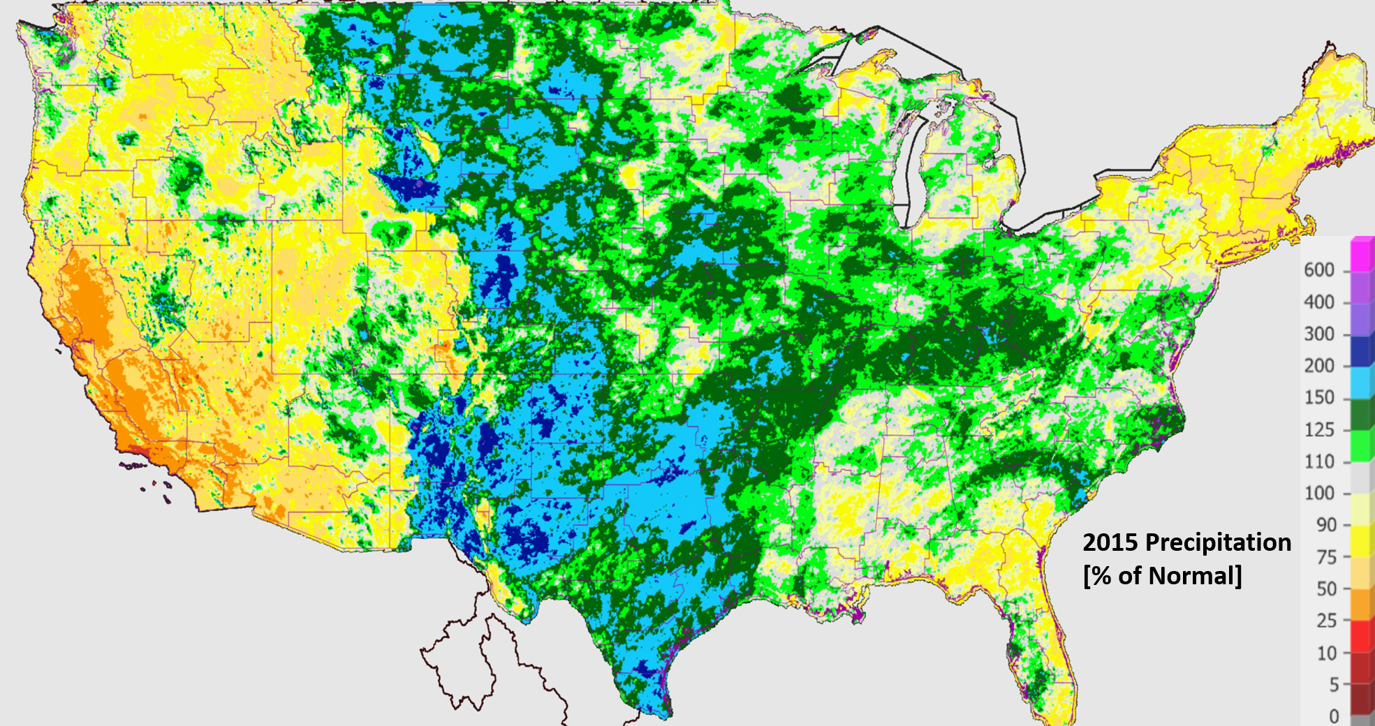 2015 Precipitation for the United State, given as a percentage of normal at each location