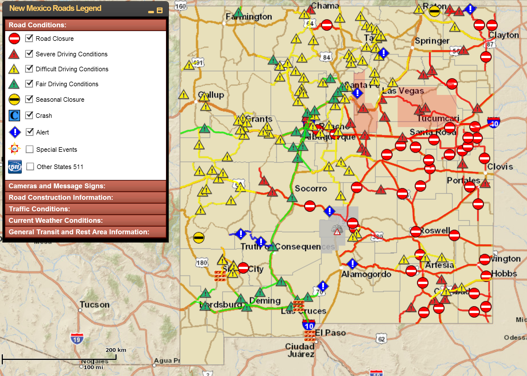 Travel conditions across New Mexico right now are treacherous at worst, bleak at best.