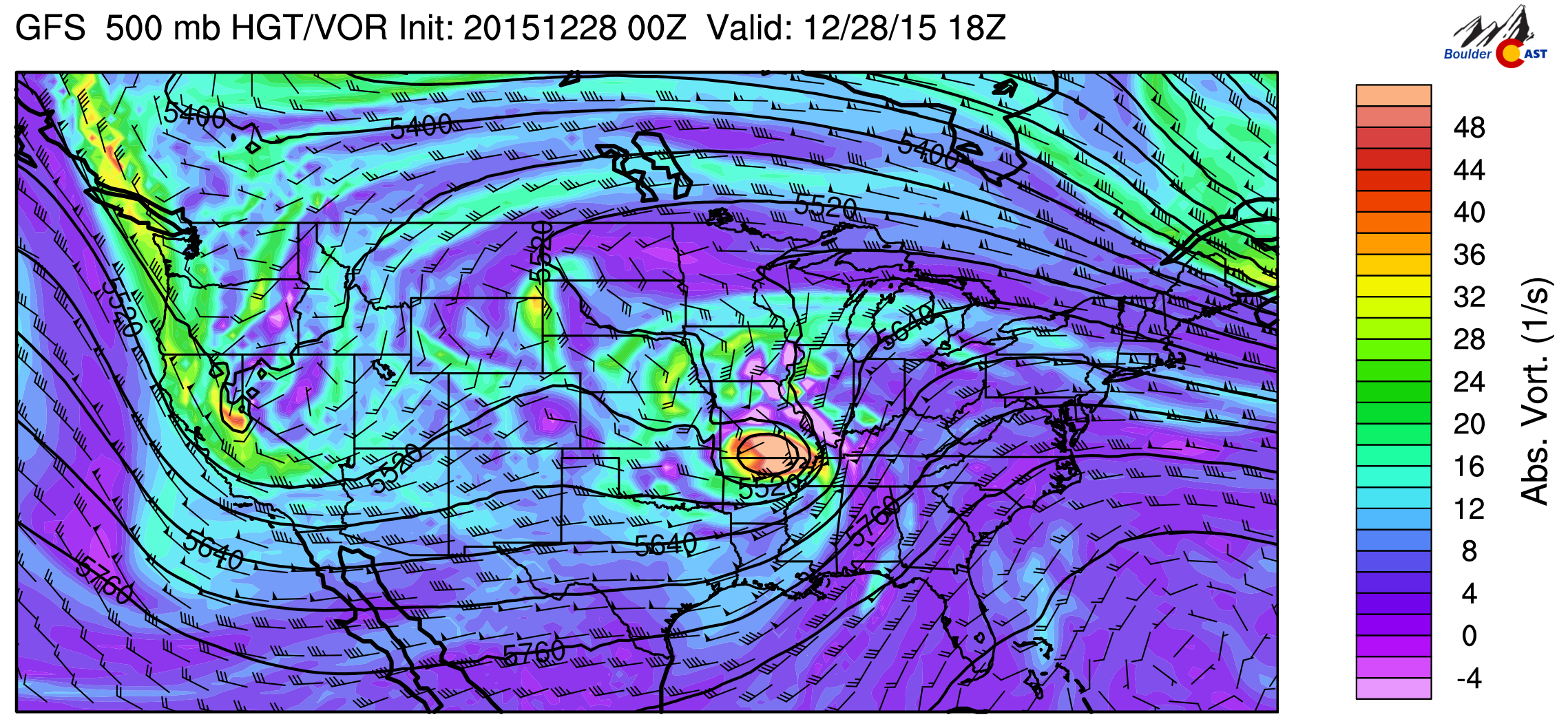 GFS 500mb vorticity map, valid Monday afternoon. Colorado is within the grip of the large scale trough, but between individual pulses of energy.