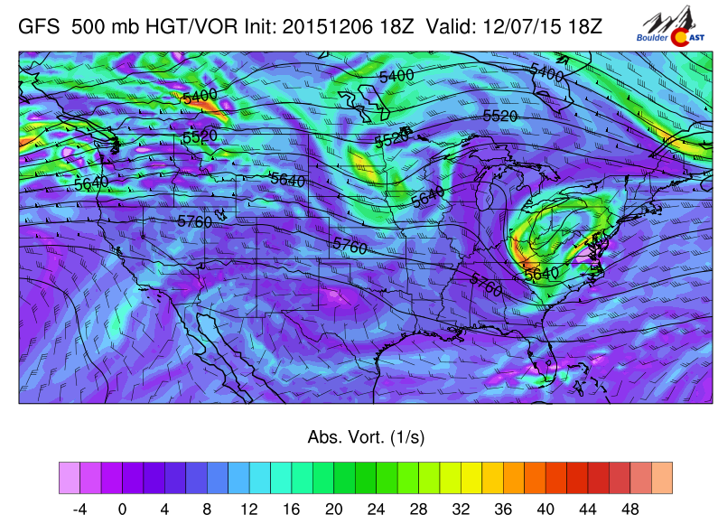 GFS 500mb vorticity map, valid at noon Monday