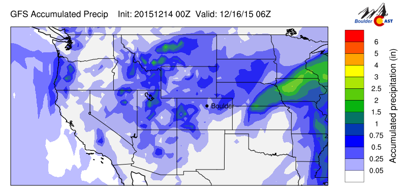 GFS accumulated liquid precipitation through Tuesday evening.