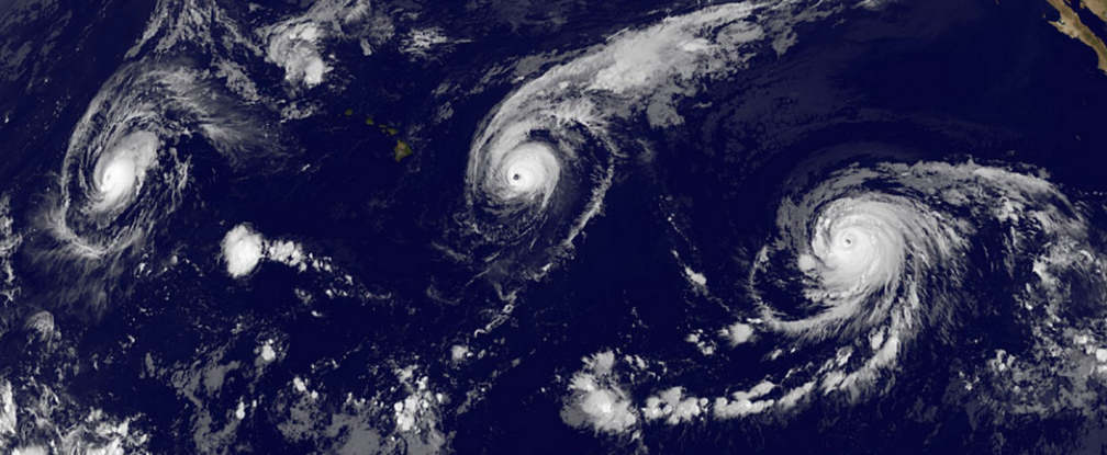 For the first time ever, three Category 4+ hurricanes were spread across the Pacific at once.