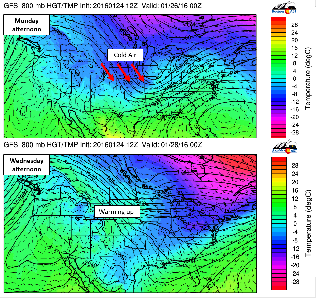 GFS 800mb temperatures for Monday afternoon (top) and Wednesday afternoon (bottom). Notice how the cold air quickly slides eastward, with warmer temps building across eastern Colorado.