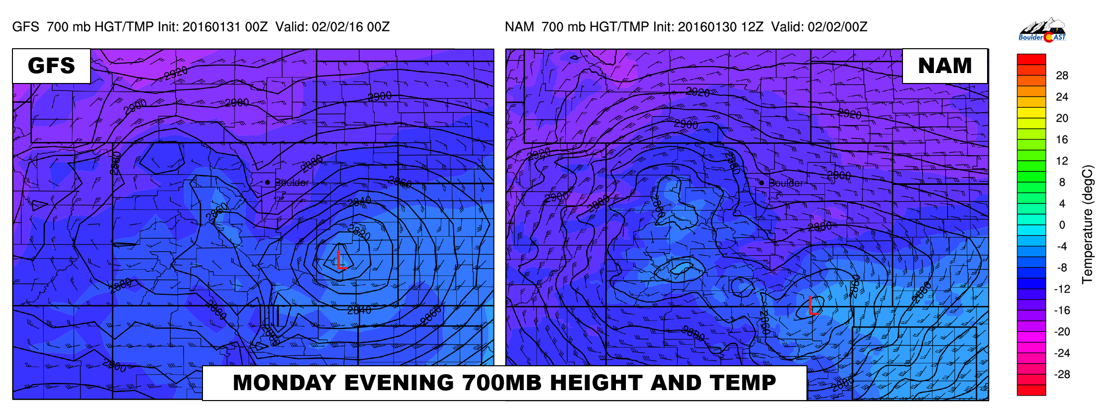 700mb height and temperature map for Monday evening from the GFS (left) and NAM (right) models.