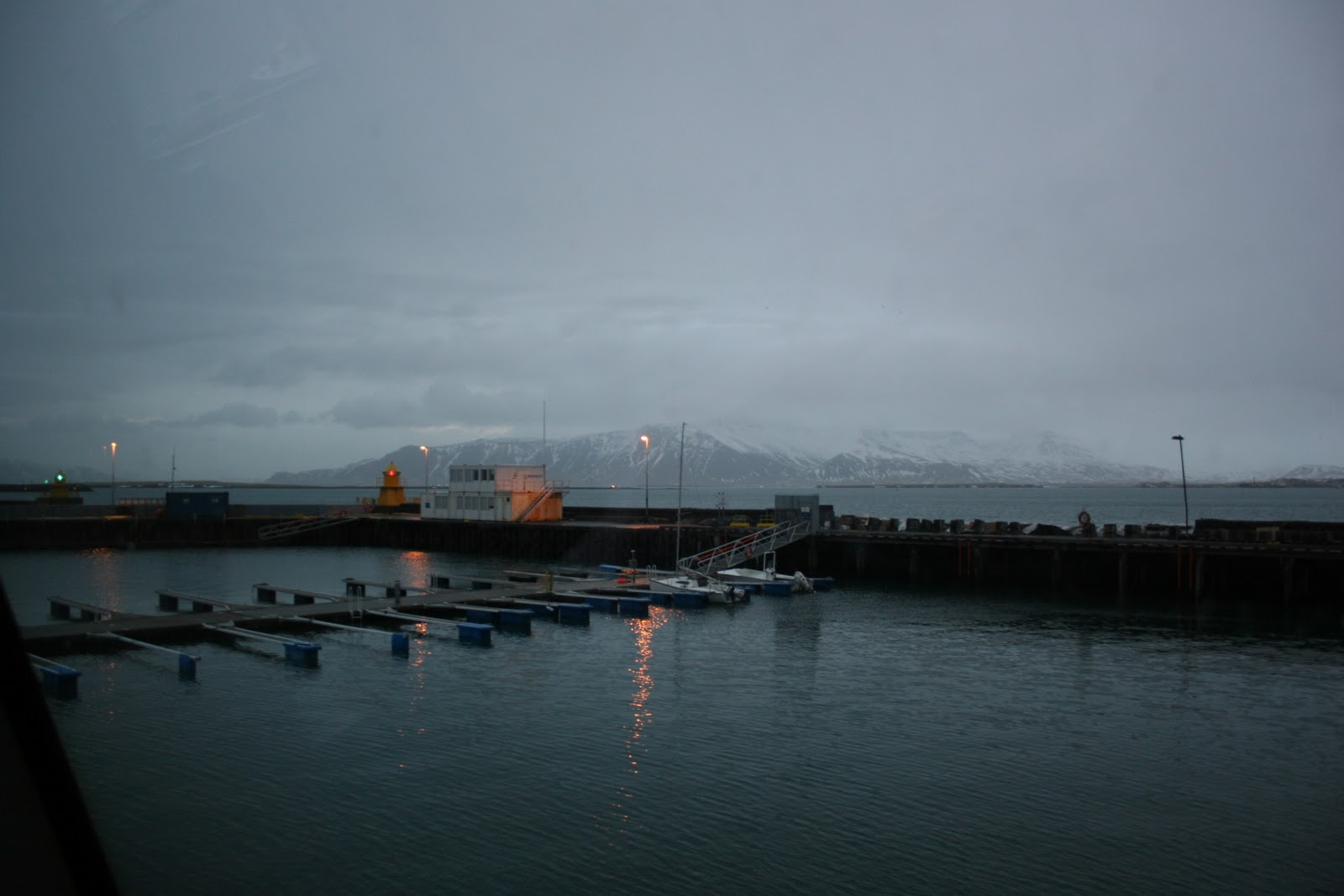 The harbor in Reykjavik, as seen from inside the opera house.