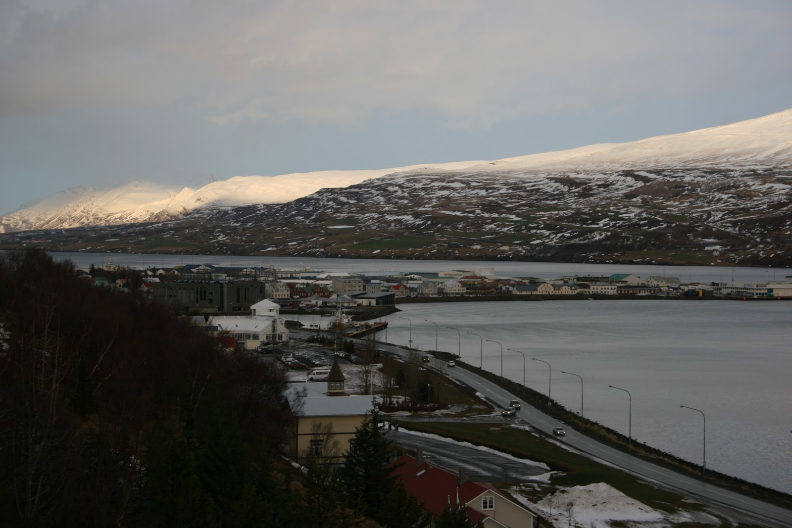 A good shot of Akureyri looking down from a part of town on top of a hill! Cute little port town!