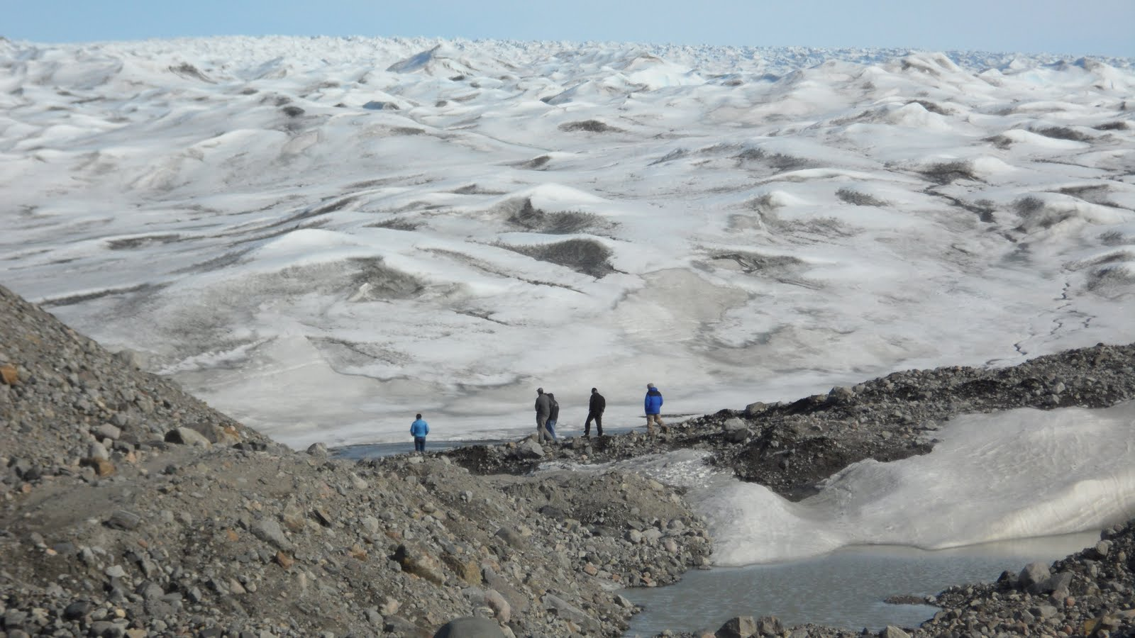 "Our group getting ready to hike out onto the Ice Sheet. The snow ""dunes"" go on forever..."