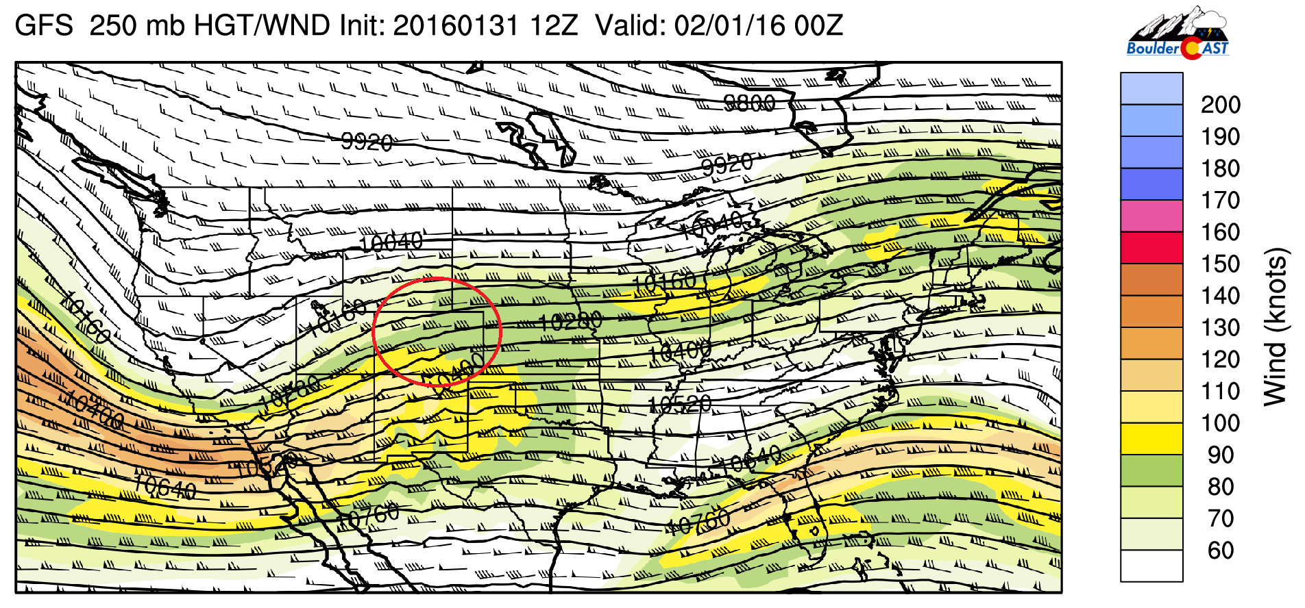 GFS 250 mb height and wind forecast for tonight