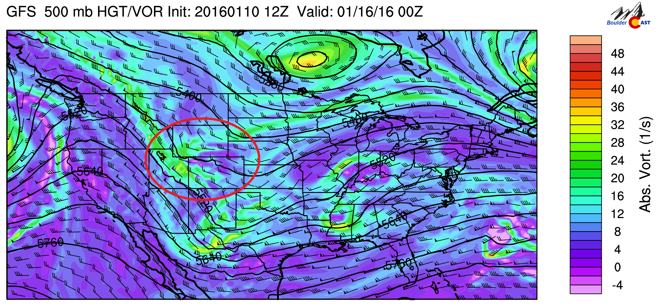 GFS 500 mb vorticity for Friday night