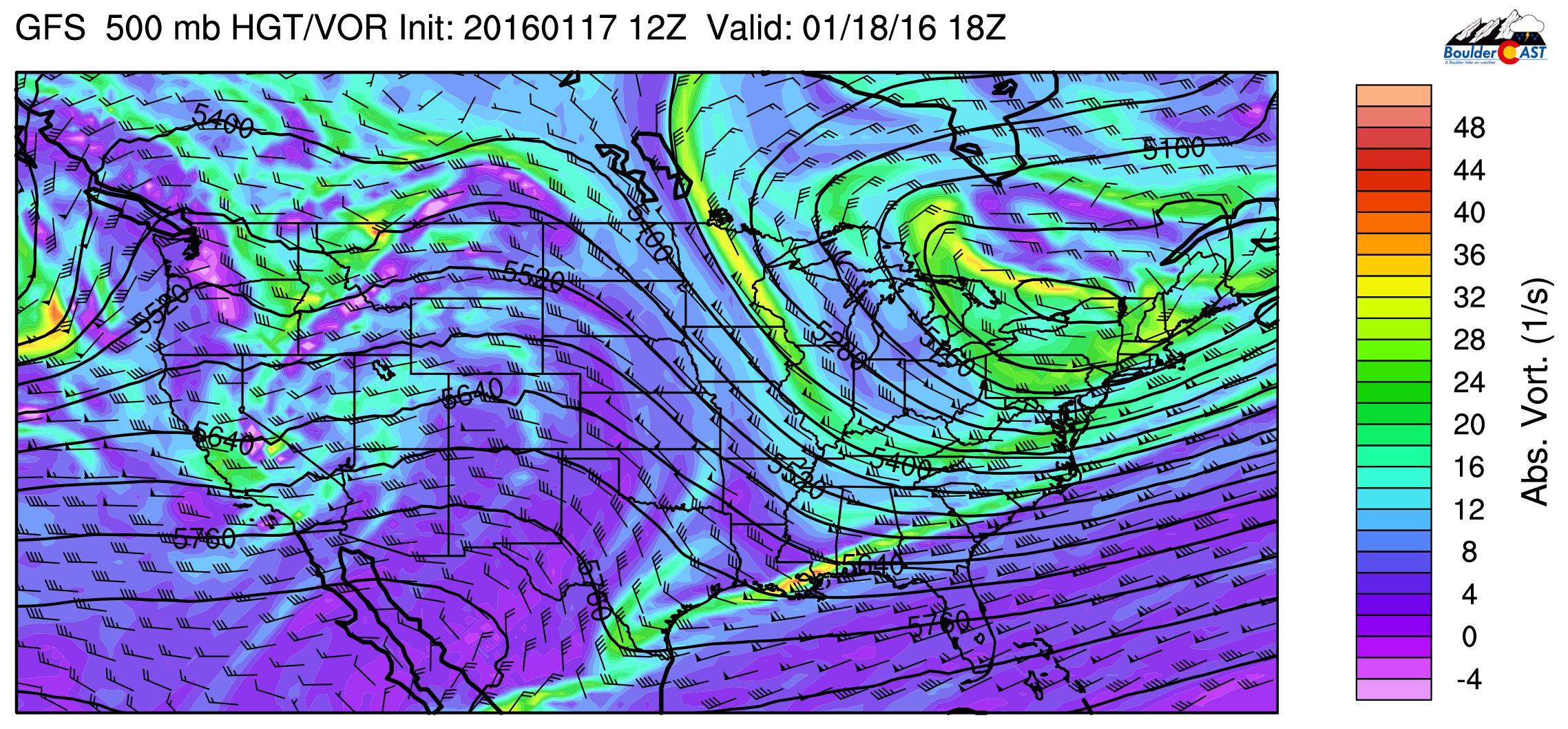 GFS 500mb vorticity map, valid at 11am today. Ridging is present over Colorado, but out next system is already ashore in California.