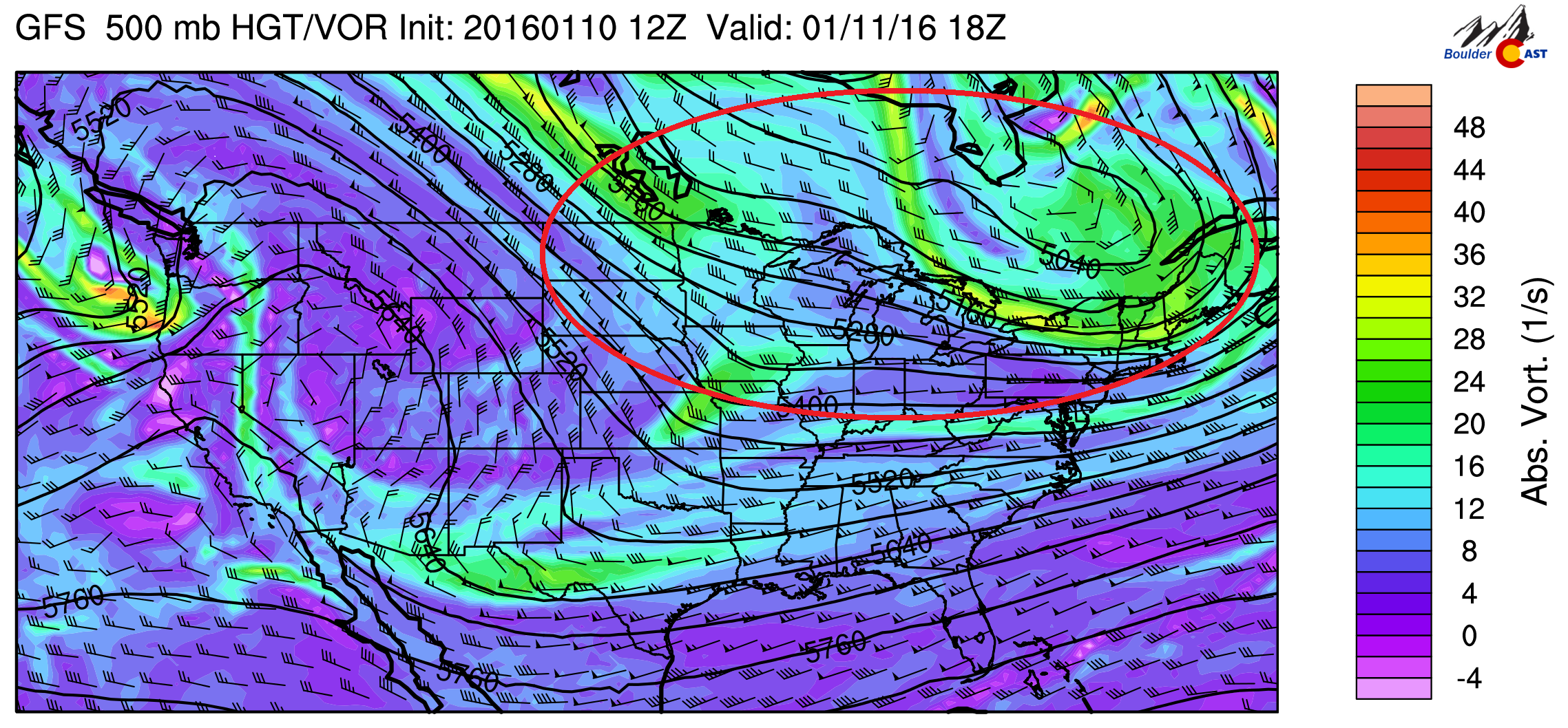 500 mb vorticity for this afternoon from the GFS