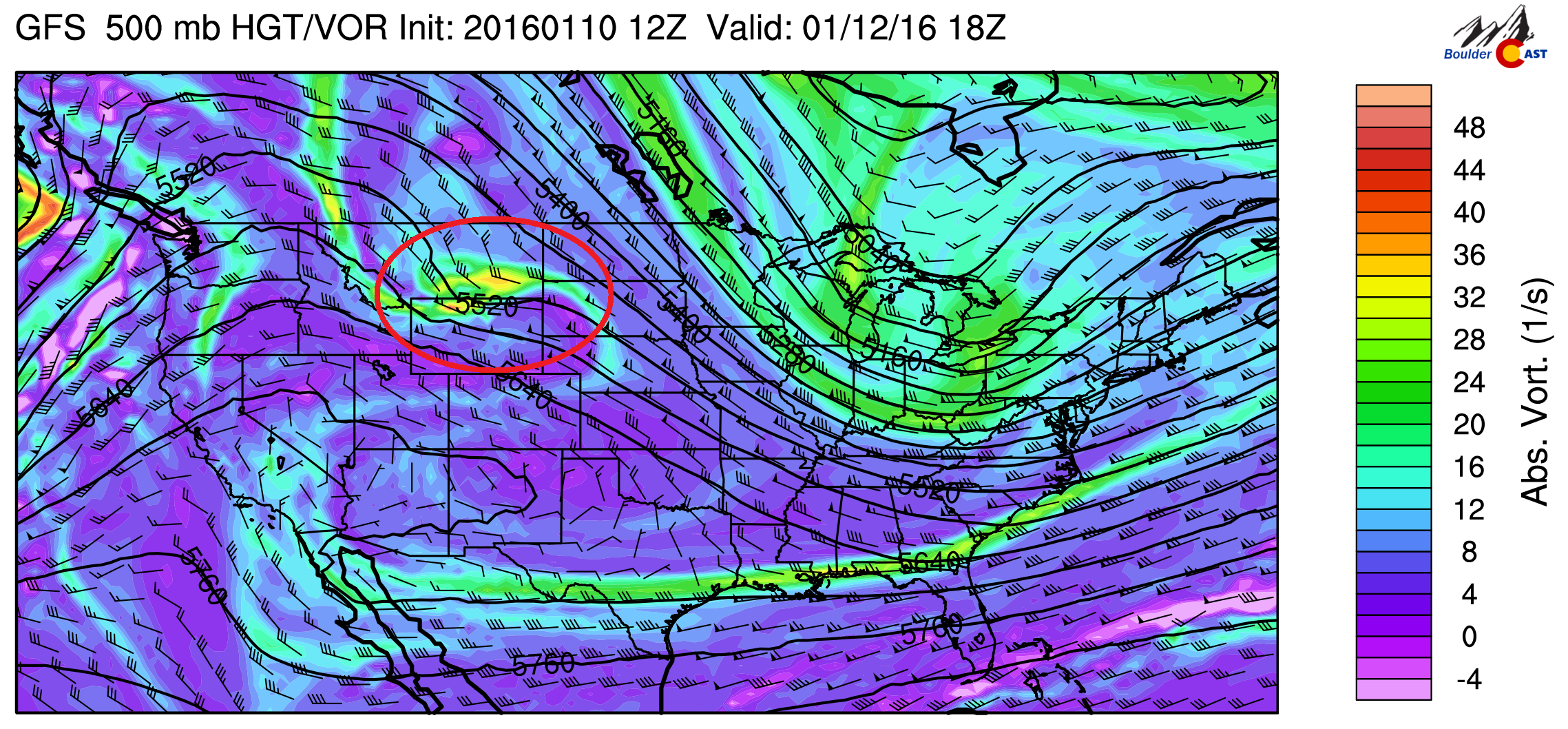 500 mb vorticity for Tuesday from the GFS model