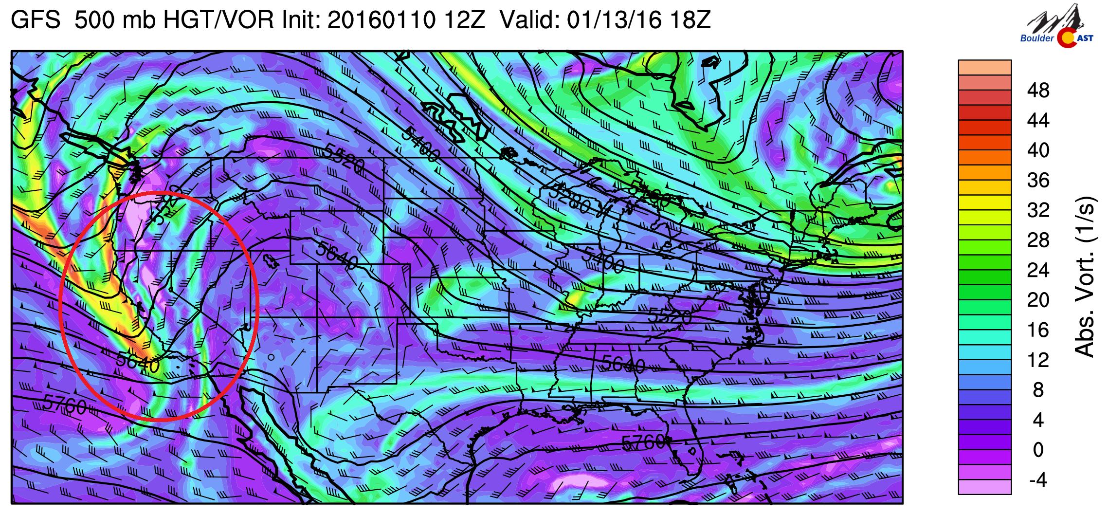 500 mb vorticity for Wednesday from the GFS model