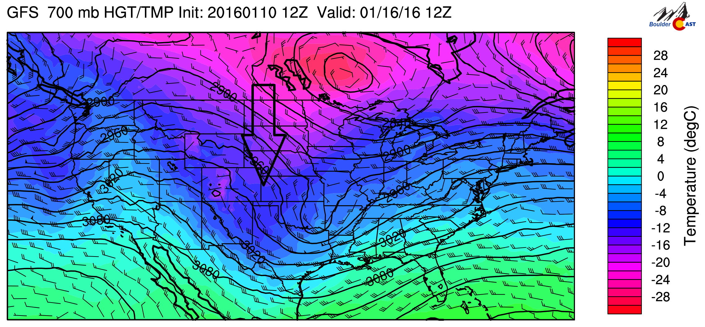 GFS 700 mb temperature for Friday