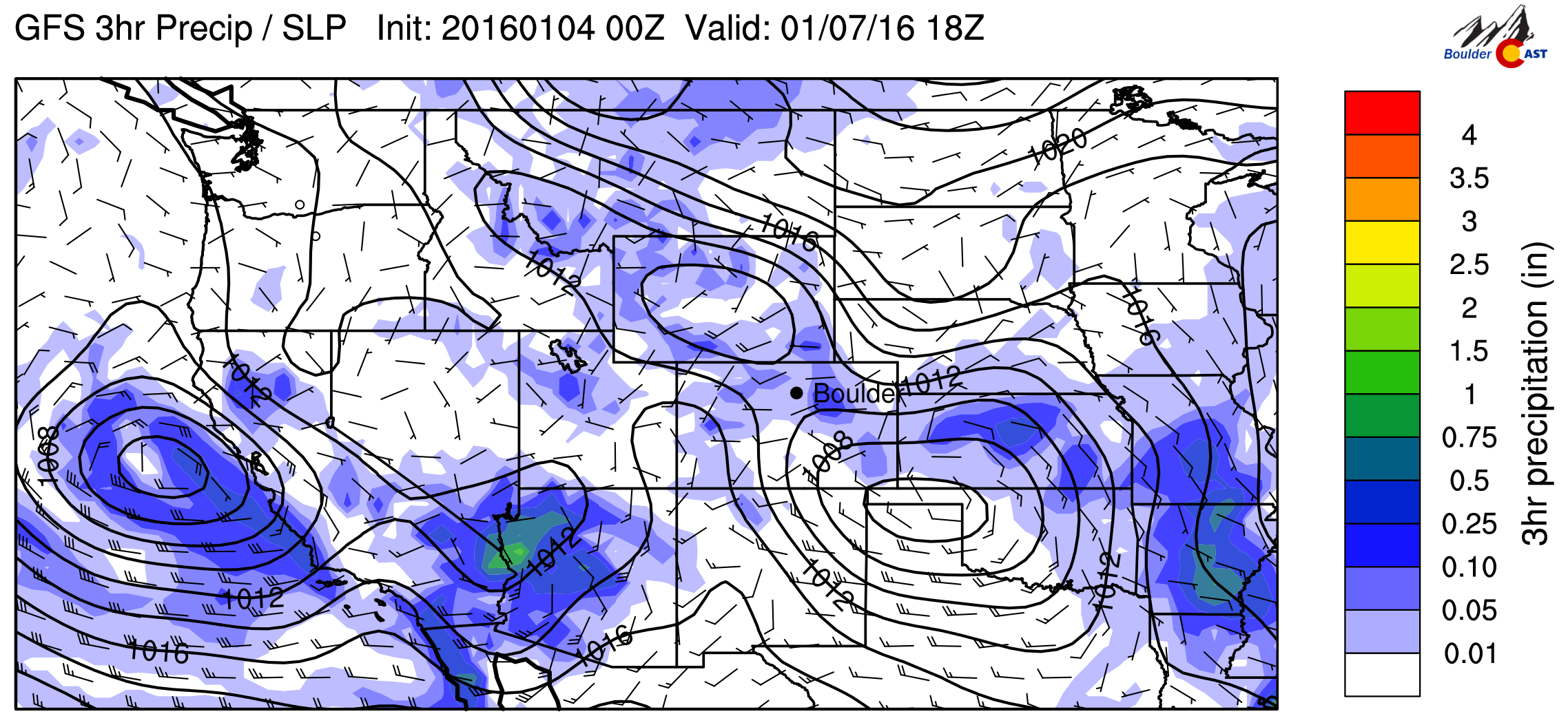 GFS Precip and sea-level pressure forecast for Wednesday afternoon.