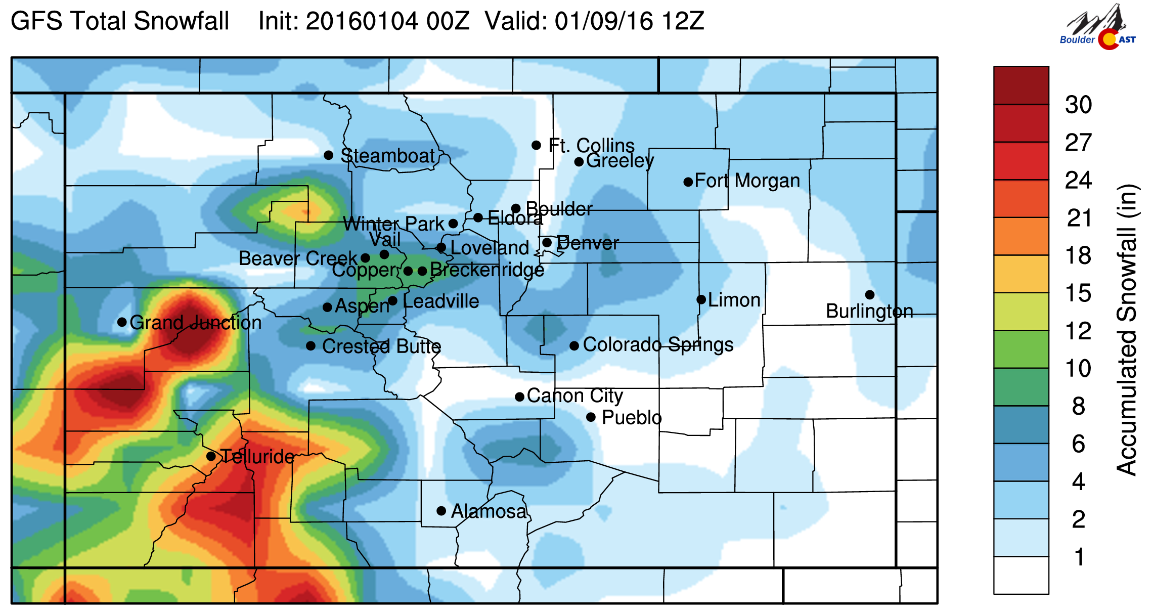 GFS total snowfall forecast through Saturday morning. If anything, it indicates at least the potential for some of the Front Range to pick up some light snow Thursday into Friday.