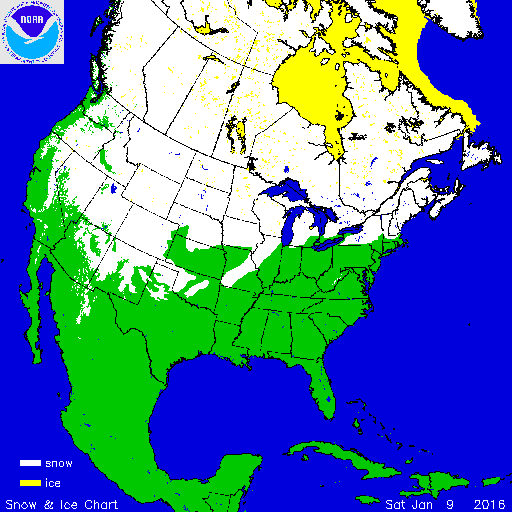 Current U.S. and Canada snow cover as of Saturday November 9th, 2016