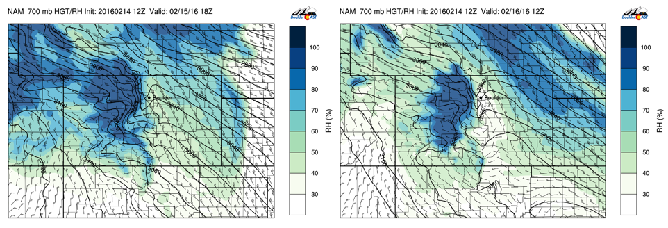 Left: 700 mb winds and RH for Monday. Right: 700 mb winds and RH for Tuesday