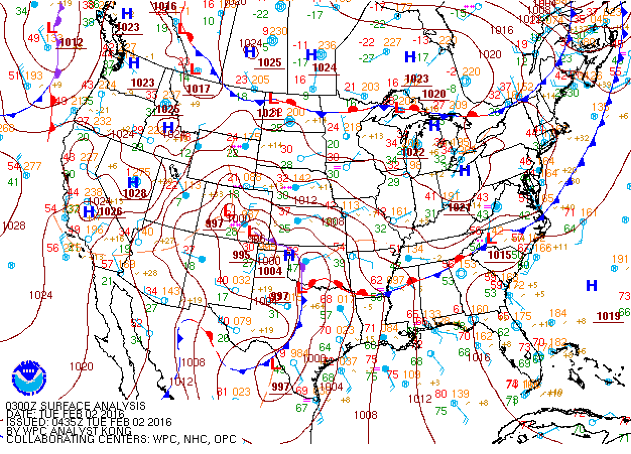 Surface map from Monday evening, showing the position of the low in SE Colorado. This is more or less the track that was expected.