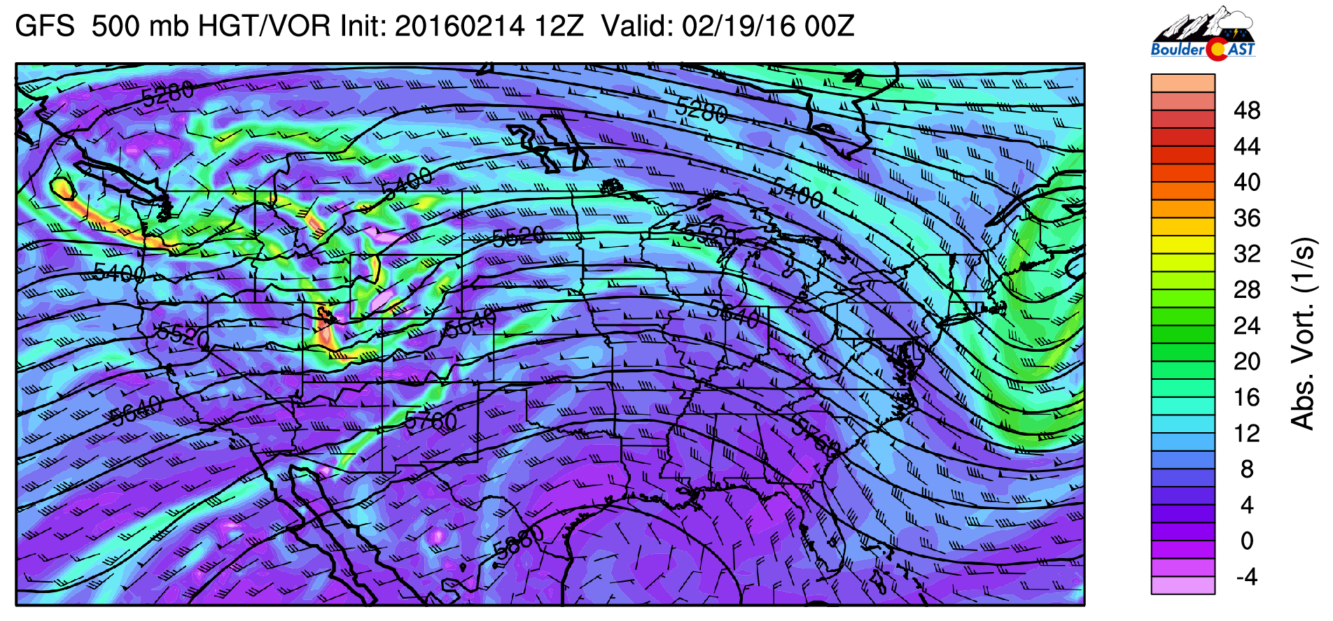 GFS 500 mb absolute vorticity for Friday