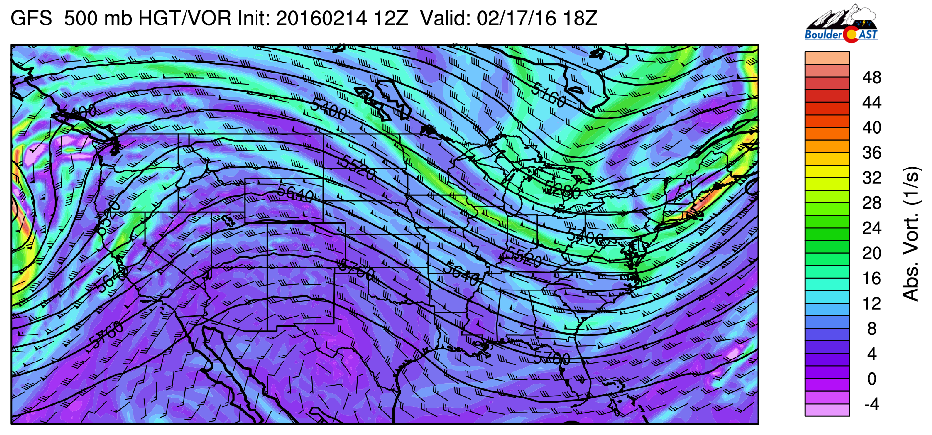 GFS 500 mb absolute vorticity and height pattern for Wednesday
