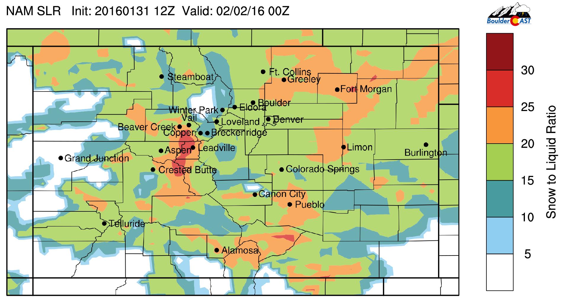 BoulderCAST snow liquid ratio forecast for Monday evening, derived from NAM model output