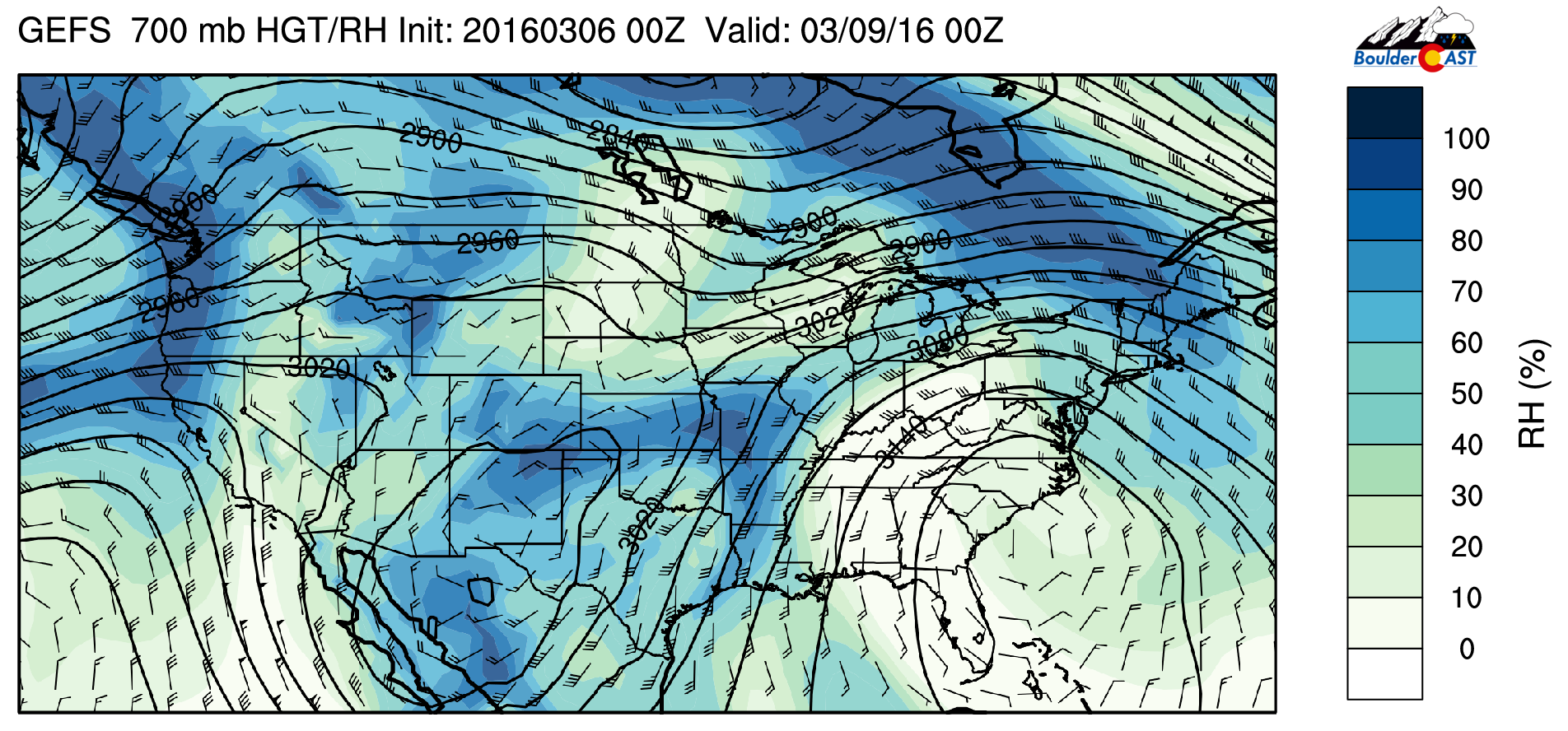 GEFS ensemble 700 mb relative humidity for Tuesday