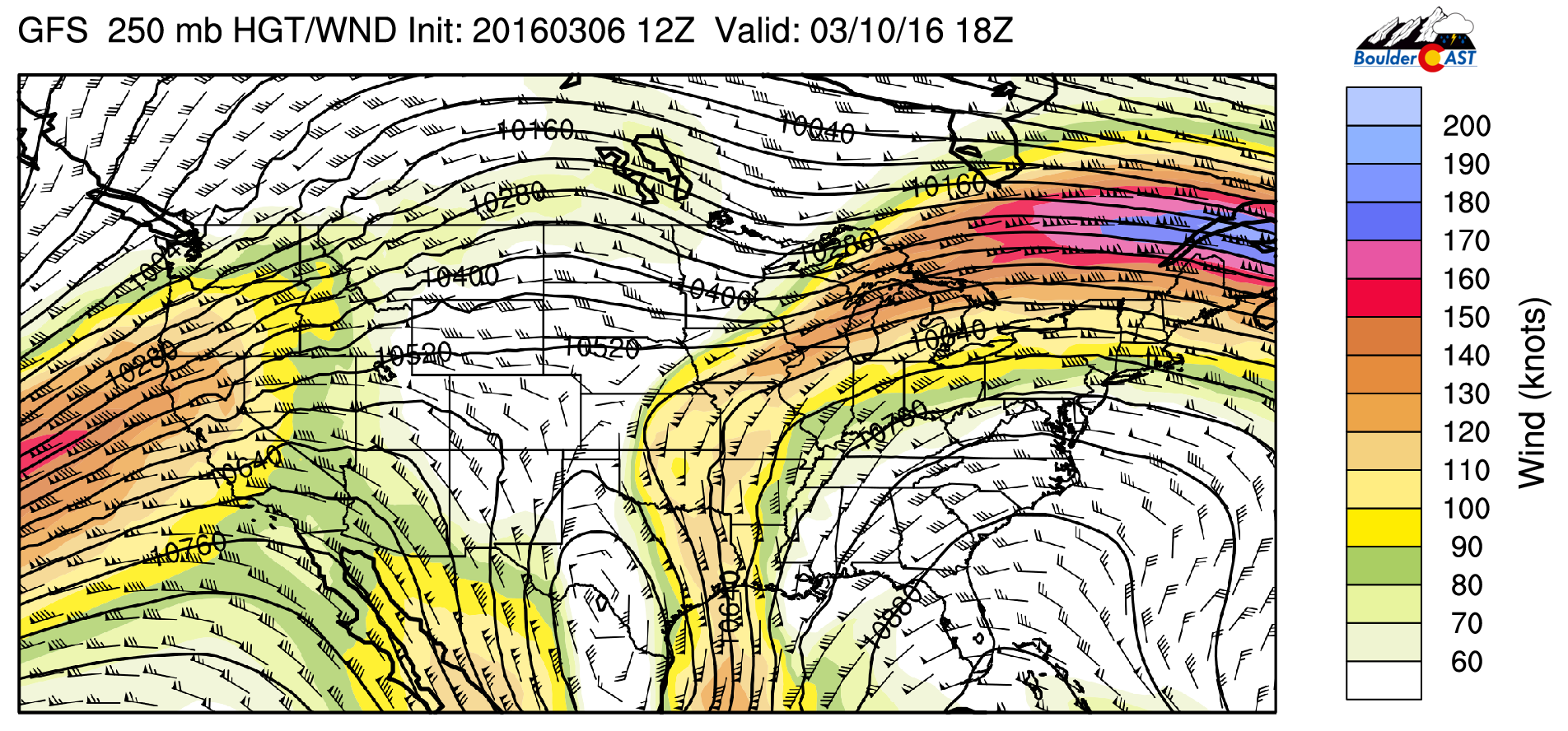 GFS 250 mb upper-level winds and heights for Thursday