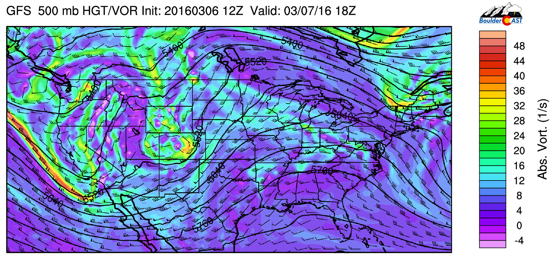 GFS 500 mb absolute vorticity for today