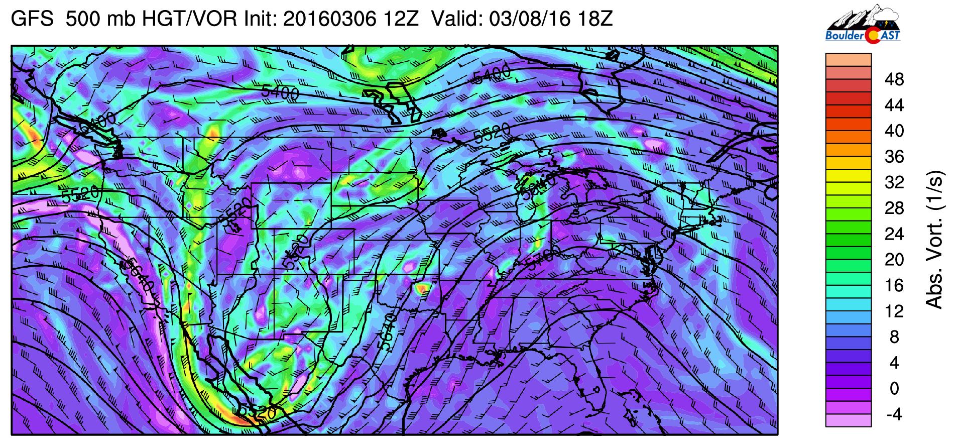 GFS 500 absolute vorticity for Tuesday