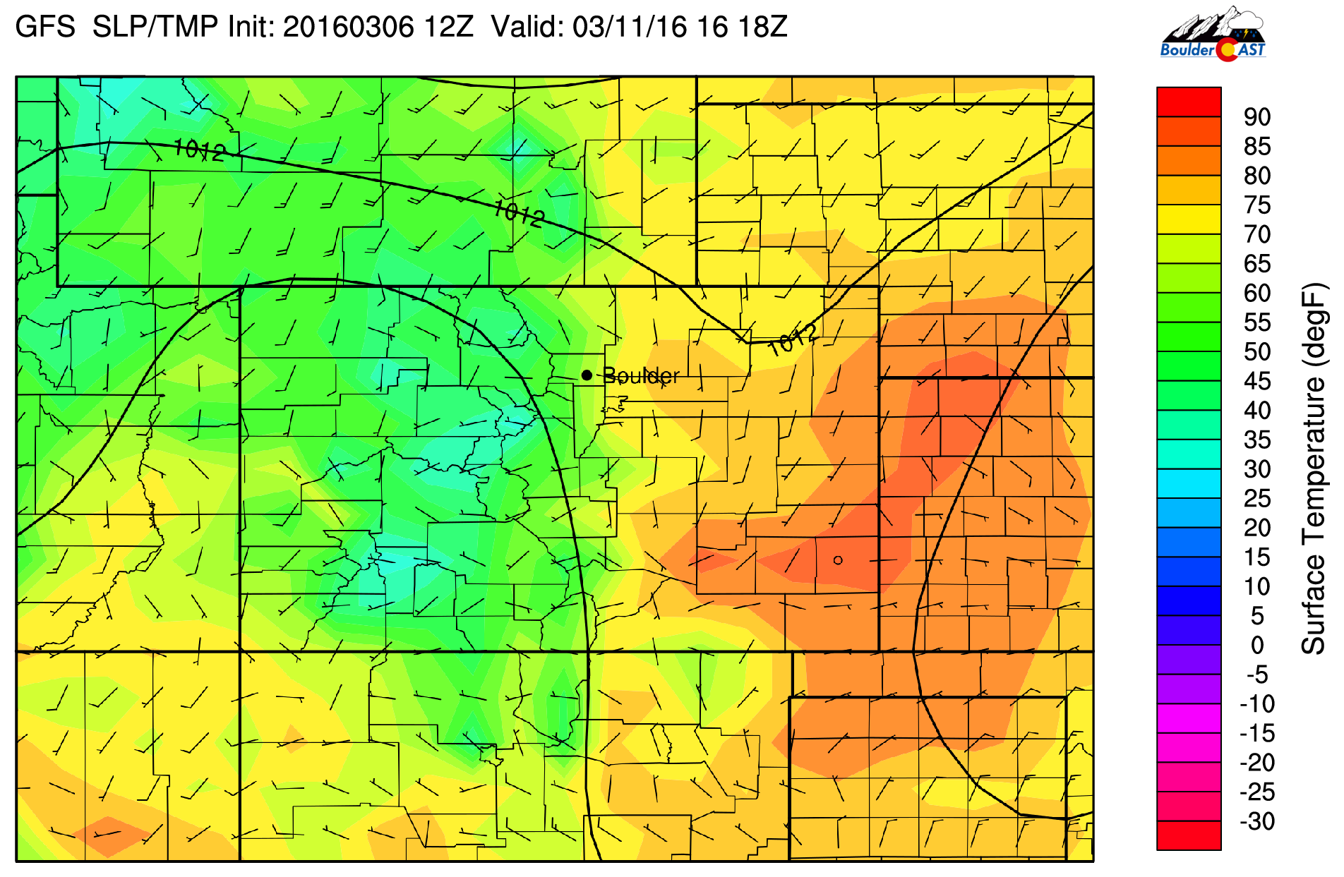 GFS surface temperature forecast for Friday