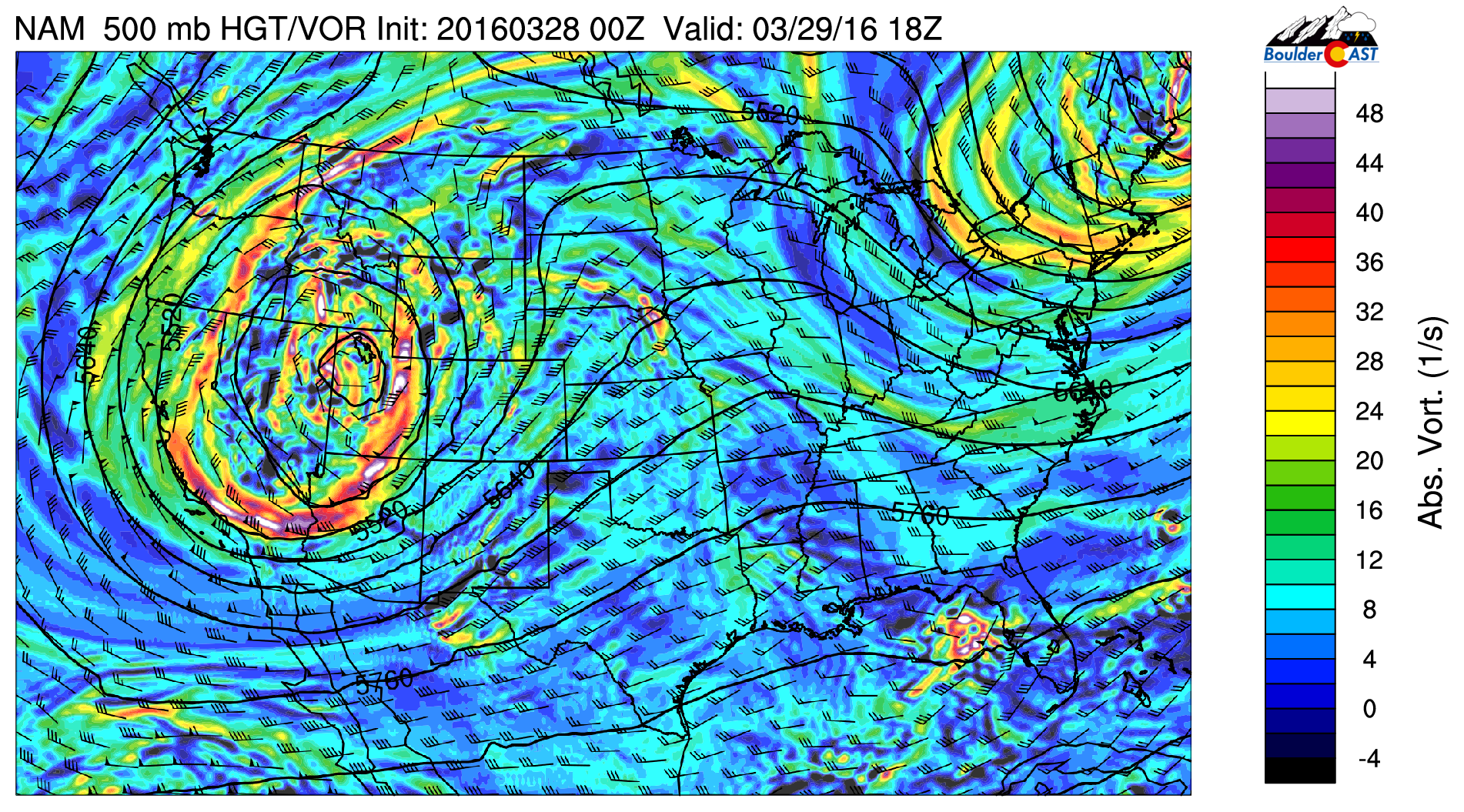 NAM 500mb vorticity map for Tuesday afternoon