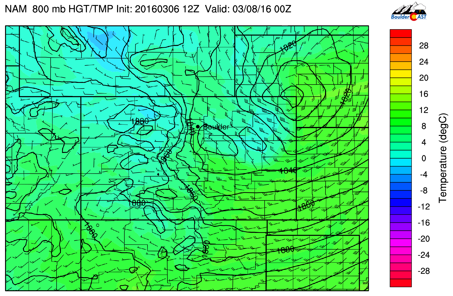 NAM surface temperature and sea-level pressure and surface wind barbs for this evening