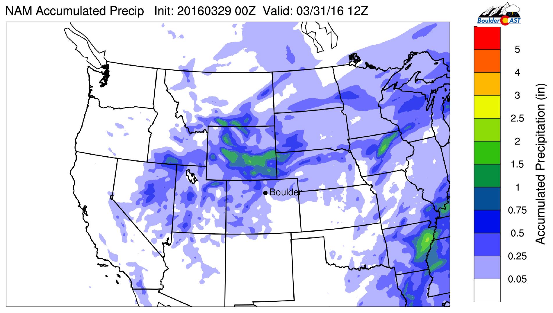 NAM forecast total precipitation through Thursday AM. SE Wyoming is finally set for a snowstorm!