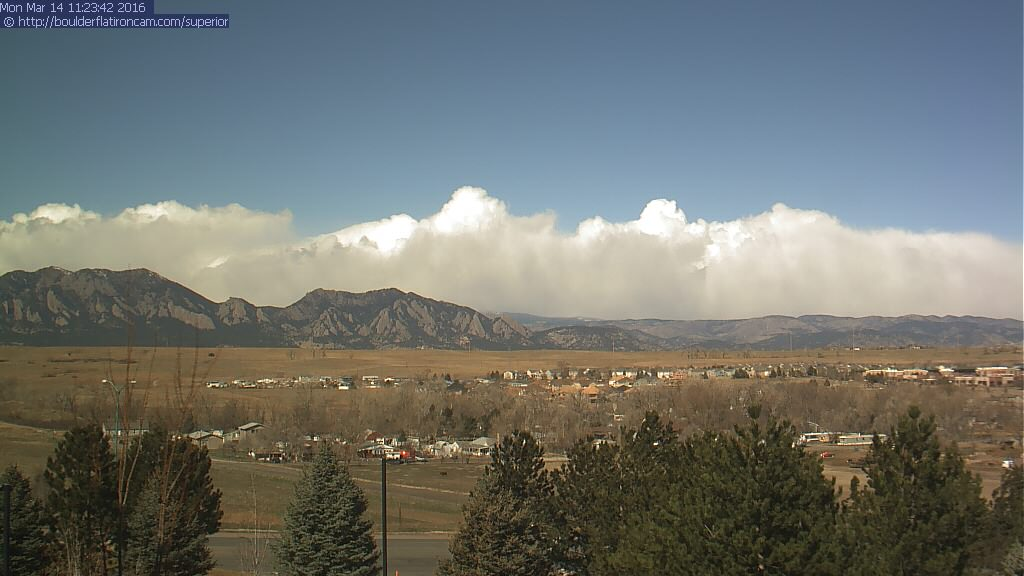 Live image of the Divide as of 11am Monday. Heavy snow has begun! | boulderflatironcam.com