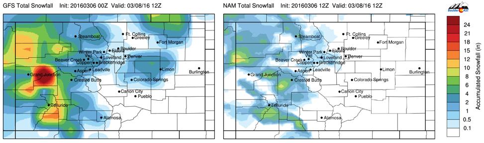 GFS (left) and NAM (total snowfall amounts ending tomorrow morning