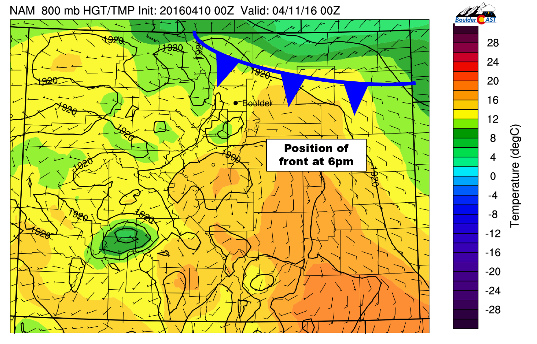 NAM 800mb temperature map for 6pm Sunday, showing the location of the cold front